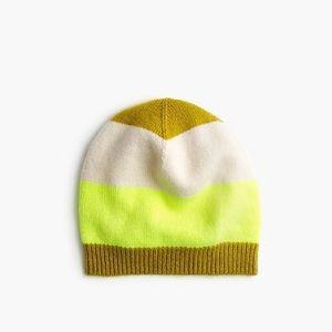 J.Crew Striped Cashmere Hat Neon Yellow & Cream